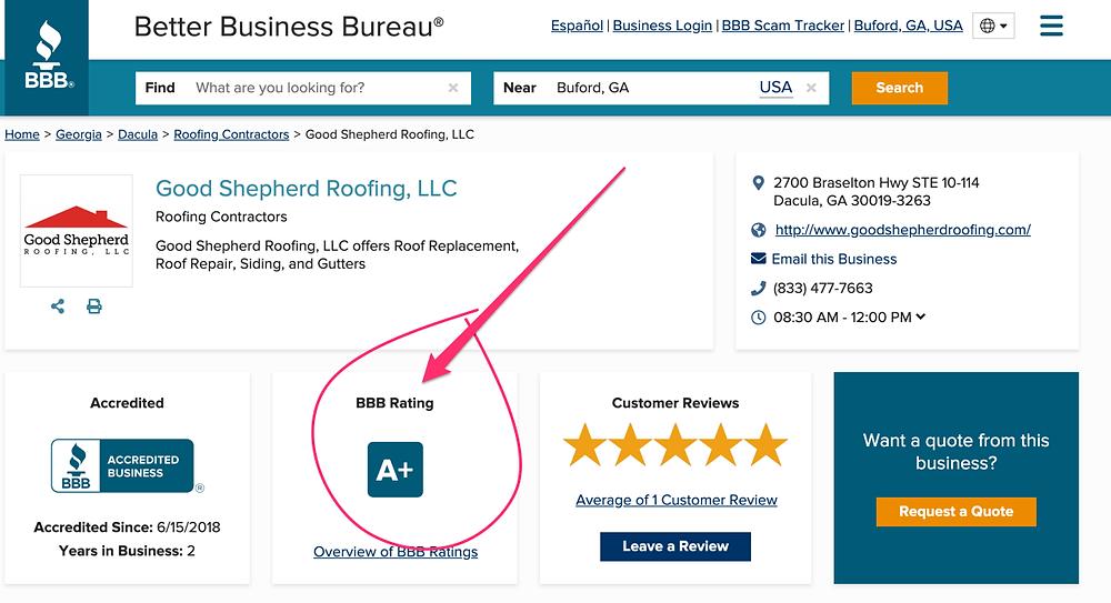 Better Business Bureau Rating of Good Shepherd Roofing