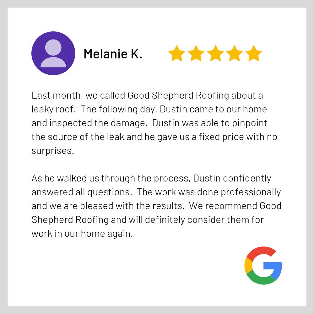 Google Review - Good Shepherd Roofing Me