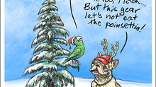 """Happy Holidays"" from Fletcher and François, cartoon by Kay Wood"