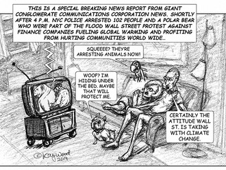 """Animals Beware - Polar bear arrested on Wall St."" cartoon"