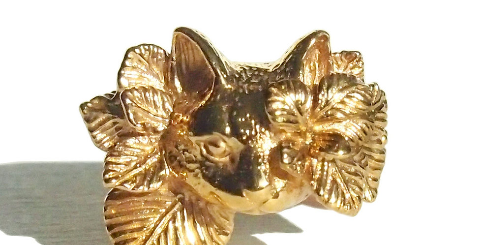 """CULOYON /  """"CACHE-CACHE"""" CAT FLOWER RING -front-"""