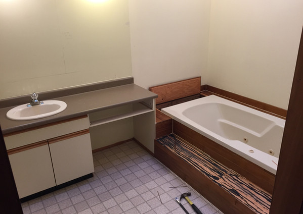 residential renovation old bathroom