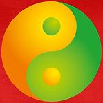 un-simbolo-yinyang-in-verde-e-arancione.