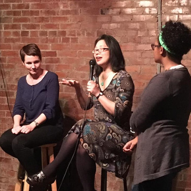 Our featured readers provide a wealth of information during the post-show Q&A. Pictured: poet, Maggie Smith (Ohio) and writer, Lan Samantha Chang (Iowa) with emcee Ashlee Clark-Thomson