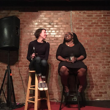 Our visiting writers discuss the writing life, helping our audience gain knowledge for their own writing projects. Pictured: Megan Kaminski (Kansas) & T. J. Jarrett (Tennesee)