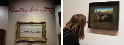 Рисунок 1 — Примеры изображений-запросов а) картина сфотографирована издали при слабом освещении, б) в кадре посетитель.