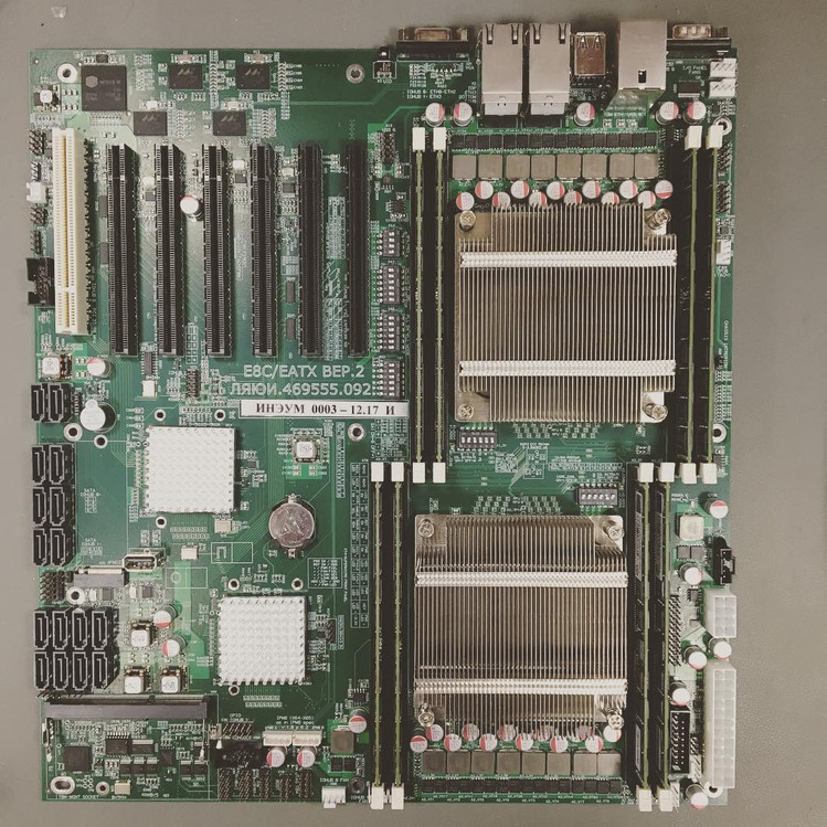 Фото двухпроцессорной платы на базе Эльбрус-8С
