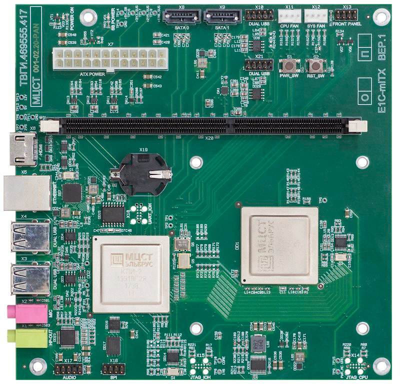 E1С-mITX на бзе микропроцессора Эльбрус-1С+ вид сверху