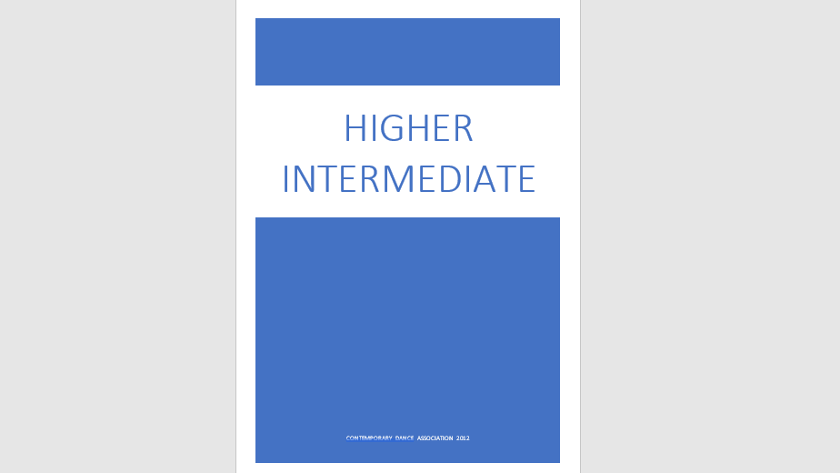 Higher Intermediate Exam Specification