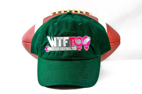 """WTF Too: Women Talk Football Too"" Dark Green Adjustable Ball Cap"