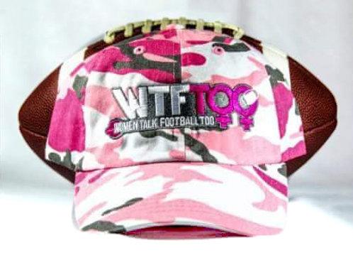 """WTF Too: Women Talk Football Too"" Pink Camouflage Adjustable Ball Cap"