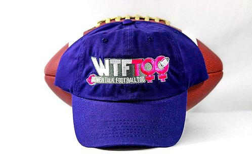 """""""WTF Too: Women Talk Football Too"""" Purple Adjustable Cap"""
