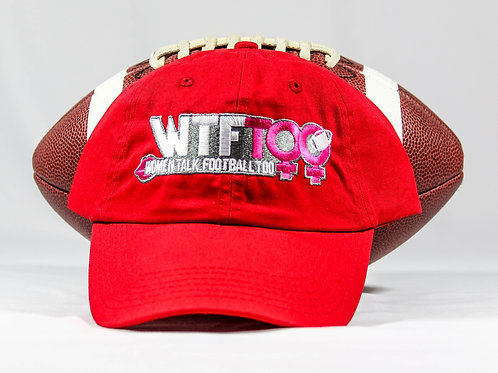"""WTF Too: Women Talk Football Too"" Red Adjustable Ball Cap"