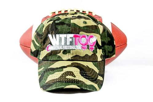 """WTF Too: Women Talk Football Too"" Camouflage/Army Fatigue Adjustable Ball Cap"