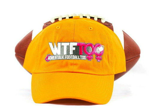 """WTF Too: Women Talk Football Too"" Gold Adjustable Ball Cap"