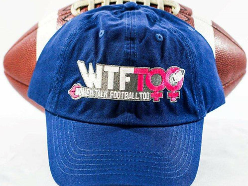 """WTF Too: Women Talk Football Too"" Royal Blue Adjustable Ball Cap"