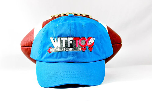"""""""WTF Too: Women Talk Football Too Neon """"Panthers"""" Blue Adjustable Ball Cap"""