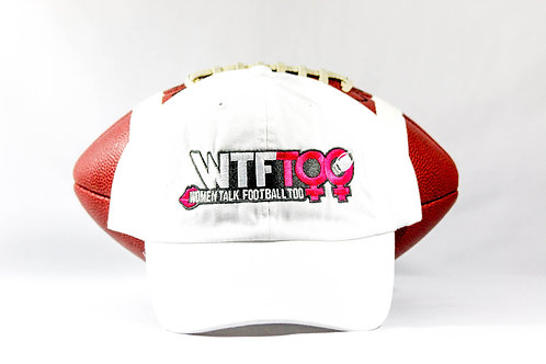 """WTF Too: Women Talk Football Too"" White Adjustable Ball Cap"