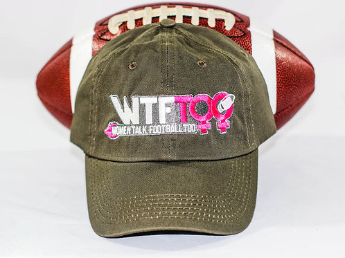 """WTF Too: Women Talk Football Too"" Olive Adjustable Ball Cap"