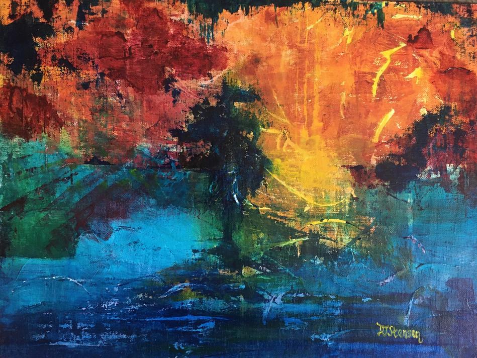"Tentative Acrylic on 12x16"" canvas board Framed $85"