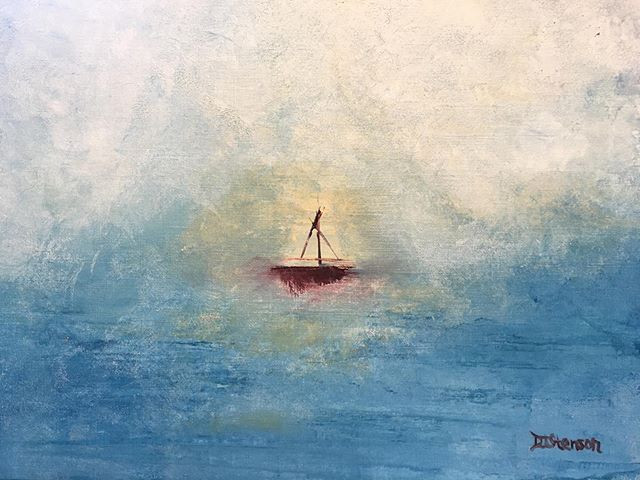 SOLD - Red Boat - April 11, 2020 Milford Arts Council Color: Red Exhibit People's Choice Winner 2020