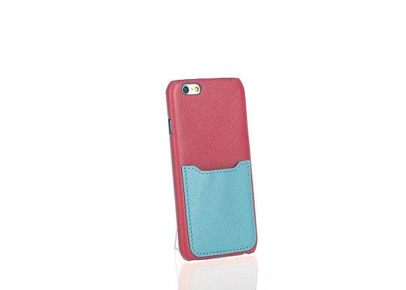 iPhone 6 phone case w/ slots A10405(DK Fush + Blu)