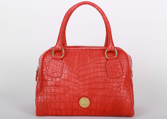 Croco Leather Large Satchel Bag (Rose Red)A10204