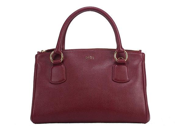 Medium Double Zip Satchel Bag (Burgundy) A10241