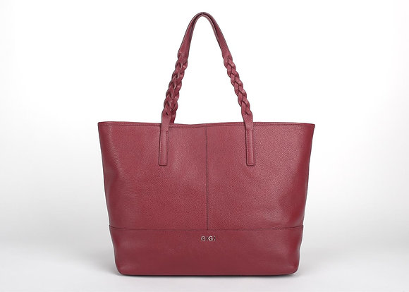 Woven Handle Tote A10422 (Cherry Red)