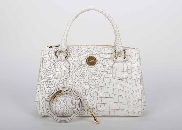 Medium Double zip Satchel (White) A10203