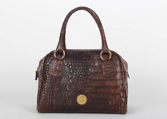 Croco Leather Large Satchel Bag (Dark Brown)A10204