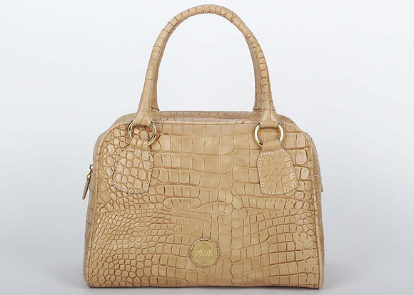 Croco Leather L Satchel Bag (Dessert Brown)A10204