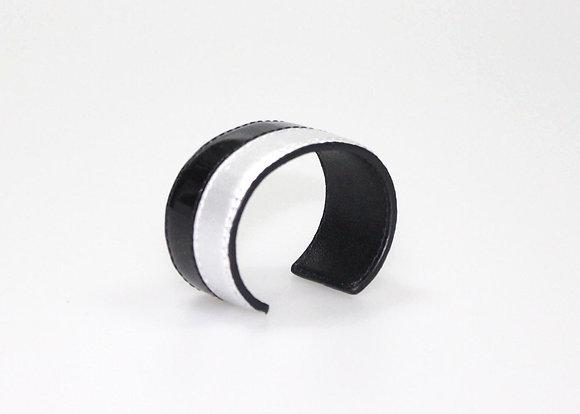 Leather Cuff (Silver, Black Patent) LB408-4