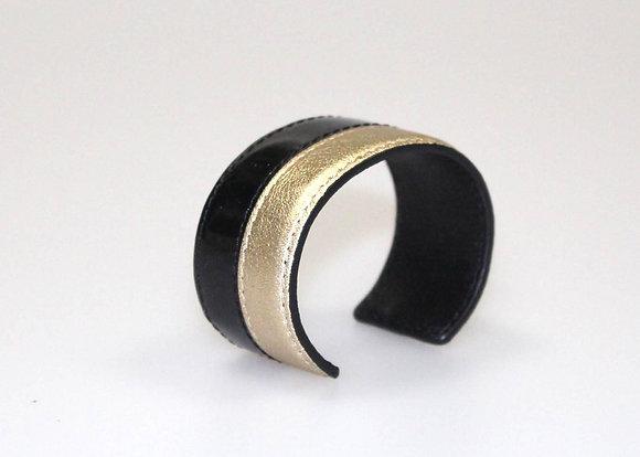 Leather Cuff (Gold, Black Patent) LB408-2