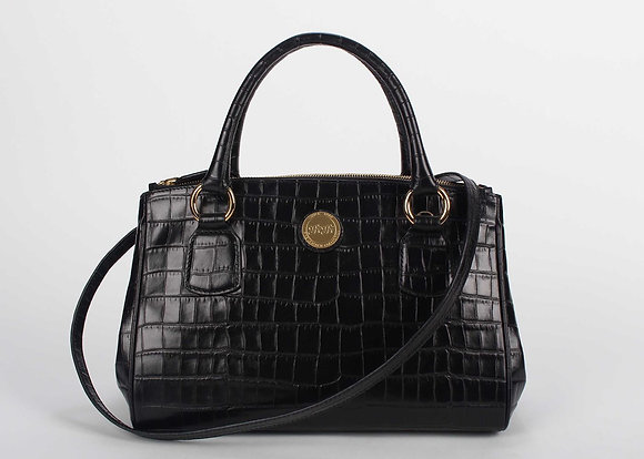 Medium Double zip Satchel (Onxy Black) A10203