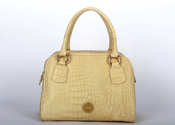 Croco Leather Large Satchel Bag (Wash White)A10204