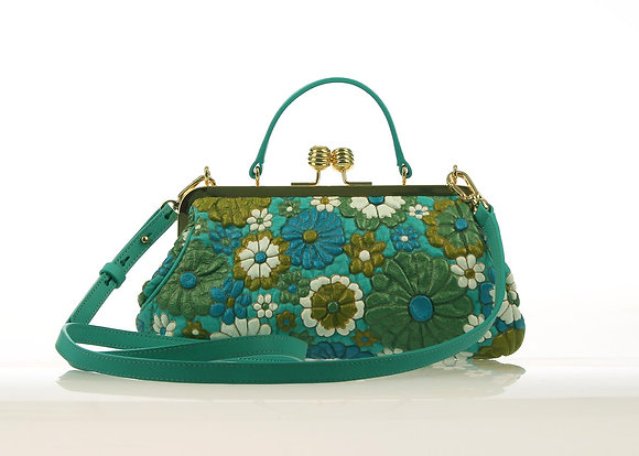 Metal Frame handbag A10563 (Chrysocolla)
