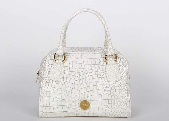 Croco Leather Large Satchel Bag ( White)A10204