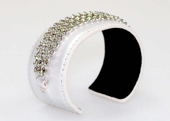 Metal Chain Leather Cuff (Silver) LB406-2