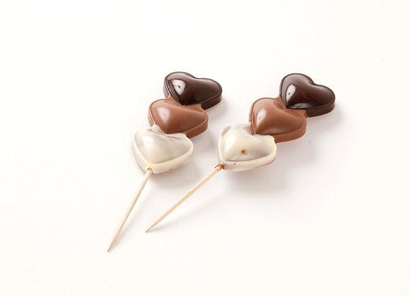 Šokoladinės širdelės ant pagaliuko