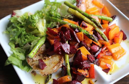 Grillribbe med grillede grønnsaker