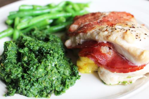 Kylling med spekeskinke og karrimajones