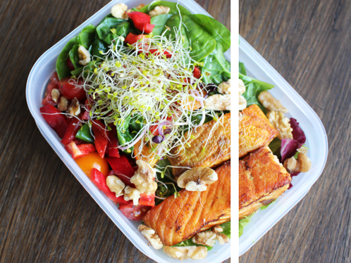 Næringsrik lunsjboks med laks & salat