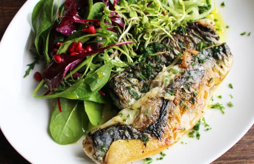 Stekt makrell med salat & agurkspirali