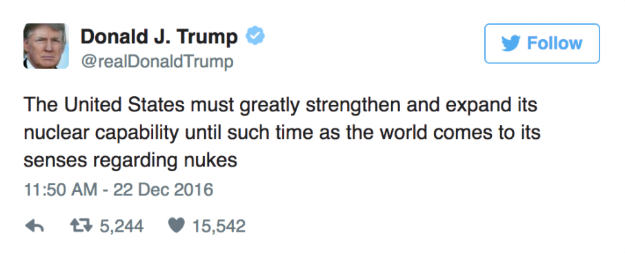 donald trump nuclear tweet