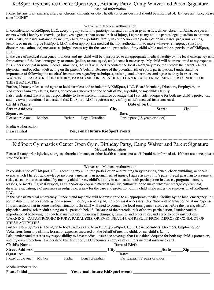 Waiver, Parental Consent, Medical Information