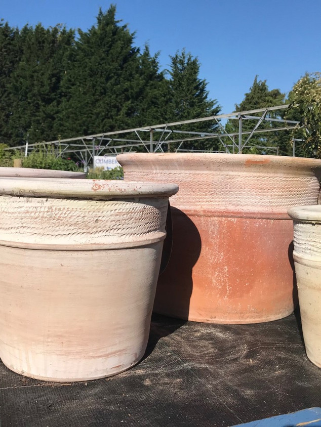 Banded Terracotta Tubs