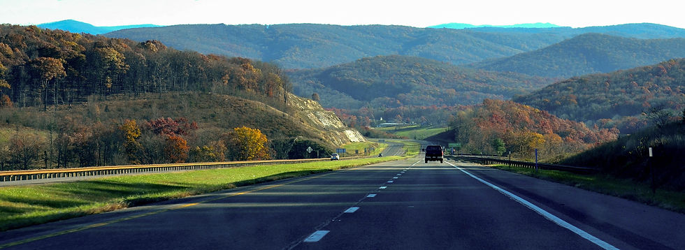 Road and mountains in Hardy County WV where Langan Law PLLC is located