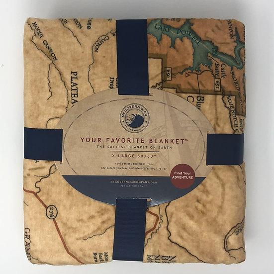 Glen Canyon Vintage Map Blanket