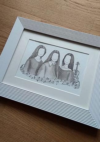 Sisters Watercolour Portrait
